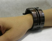 Deco Cuff with Slots, antiqued Copper
