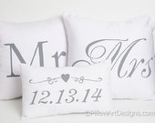 Wedding Pillow Covers Set with Mini Date Pillow Mr and Mrs Grey and White Hand Painted Made in Canada