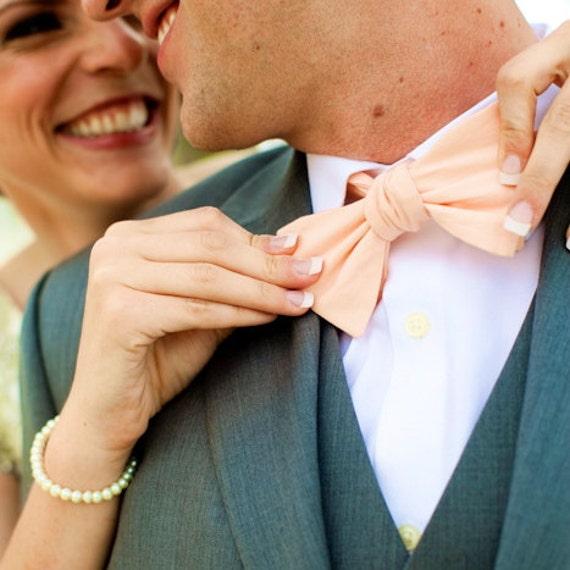 Men's Bow Tie - Peach Solid Bowtie - Freestyle self tie - Adjustable