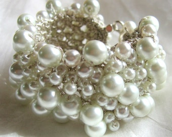 RESERVED PURE WHITE Pearl Cuff Bracelet, Modern Bridal Wedding Statement,  Unique Hand Knit  Exclusive, Sereba Designs