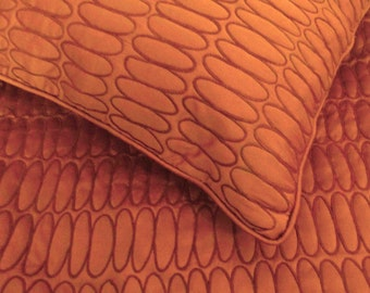 "cotton orange twin coverlet quilted bedspread with 2 pillows in size 108""x90"" and 20X26 inches,quilt bedding,luxury bedspread,"