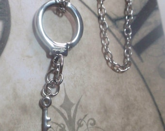 """Handcuff Key pendant on  24"""" Stainless steel link chain stainless steel pendant necklace"""