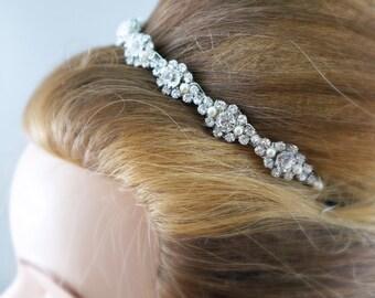 Bridal headband rhinestone tiara Wedding hair accessories Swarovski pearls Bride rhinestone headpiece hair up do Sparkly hair piece Formal