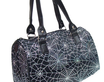 USA HANDMADE Handbag Doctor bag Satchel Style Spider Web Halloween Gothic Pattern Bag Purse, new