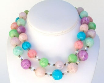 Vintage Necklace Crystal & Lucite