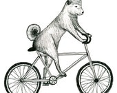Shiba Inu Dog Riding a Bicycle Print - itllglowonyou