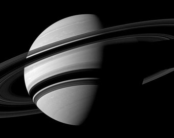 Shadow Circles Round Saturn Rings Shadows Black White NASA Space Age Art Cassini Modern Scientific Astronomy Science Photography Photo Print