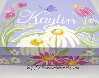 personalized Christening gift,personalized keepsake box,butterflies,flowers,personalized,baptism gift,first communion gift,girls keepsake