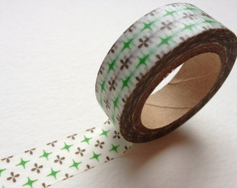 1 DOLLAR SALE Washi Tape - Brown and Green Pattern
