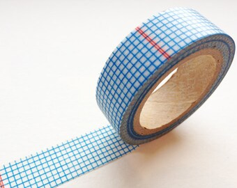 Washi Tape - Blue Checker Grid with Double Thin Red Lines
