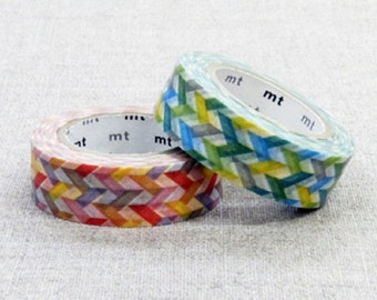 MT 2014 - Japanese Washi Masking Tape / Red or Green Slash for scrapbooking, packaging, party deco, card making
