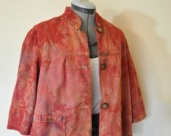 "Red XL Denim JACKET - Cherry Red Orange Hand Dyed Upcycled Relativity Denim Swing Jacket - Adult Womens Size Extra Large XL (46"" chest)"
