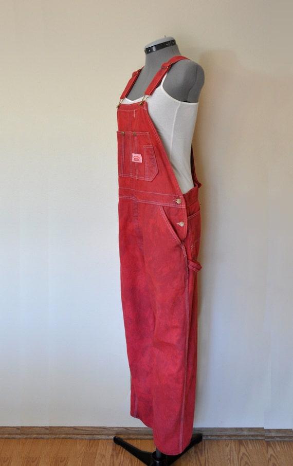 Red Bib Overalls Hand Dyed Wine Round House Cotton Denim