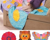 Childs' Rag Quilt Pattern, Butterfly Rag Quilt, Owl Rag Quilt, Flower Rag Quilt, Simplicity Sewing Pattern 2935