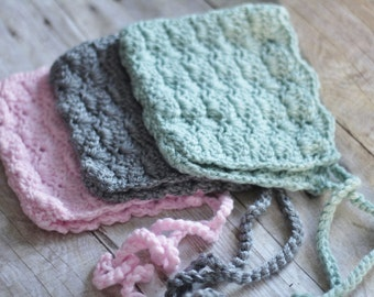 Baby Bonnet Hat, Crocheted Newborn Photo Prop in Green, Gray or Pink