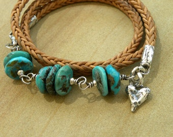 Sterling Silver Leather Wrap Bracelet Natural Turquoise Heart Artisan OOAK Handcrafted Urban Rustic