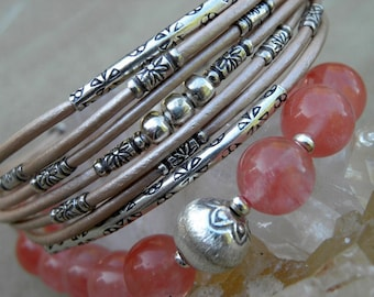 Sterling Silver and  Metallic Pale Mauve Pink Leather Cuff Bracelet Urban Modern