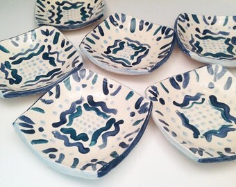 Six Tapas/Dessert Plates in Blue and White