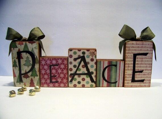 PEACE Decorative Wooden Block Set Handmade By Arborfieldmanor