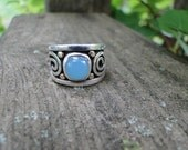 SALE - Sterling Silver & 14kt Gold Pale Blue Chalcedony Ring with Geometric Swirls
