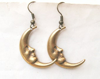 Antique Gold Moon Earrings, Drop Earrings, Moon Face, Choose Plated, Surgical Steel or Gold Filled Wires, Also Available in Silver