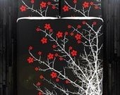 Red Cherry Blossom Tree Duvet Cover Bedding Queen Size King Twin Blanket Sheet Full Double Comforter Toddler Daybed Kid Teen Dorm