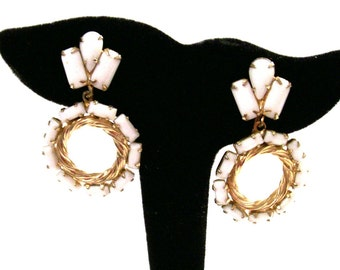 Vintage Weiss White Milk Glass Earrings, Signed Weiss, Dangle Hoops, Clip On, Gold Tone, 1950's Mid Century, VisionsOfOlde