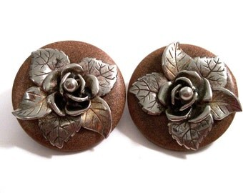 Vintage Large  Statement Earrings, Unique, Wood Cast Metal,1940's 1950's, Collectible Clip On Earrings, VisionsOfOlde