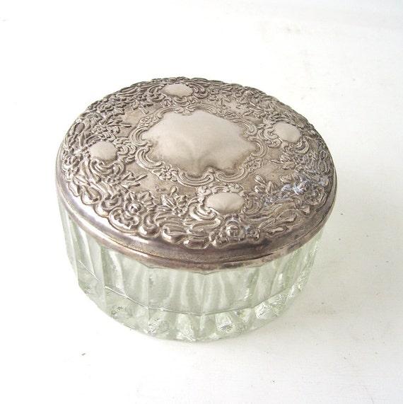 Vintage Trinket Box Dish Silver Glass Mirror Jewelry Mid