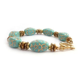 Turquoise & Gold Bracelet - Engraved Czech Glass Gold Inlay - Victorian Style Antique Inspired Bracelet - Handmade Jewelry