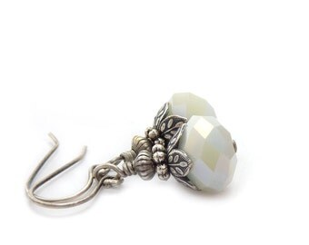 White Earrings - Faceted Glass Dangles - Antiqued Silver - Vintage Inspired - Petite Dangles - Bridal Wedding Earrings