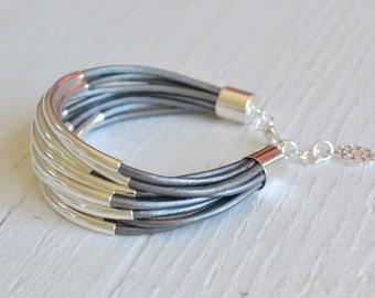 Silver Leather Cuff Bracelet with Silver Tube Beads - Multi Strand Bangle Women's Bracelet  ... by  BALOOS  STUDIO