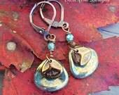 Handmade Antiqued Copper Dangle Earrings