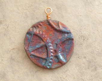 Raku Clay Pendant - Matte Steampunk Medallion