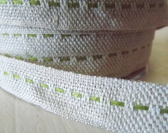 Burlap Green Burlap Center Stitch Ribbon 2 Yards gift wrap craft supply