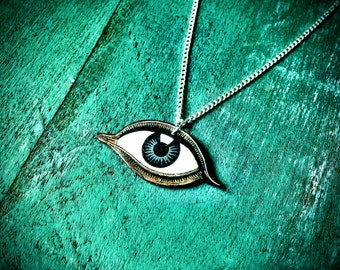 All seeing eye of Providence eye of god occult pentagram necklace with silver plated chain NEW