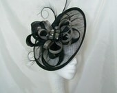 Black Sinamay Saucer Curl Feather and Pewter Silver Grey Loop & Beaded Cecily Fascinator Hat -  Made to Order