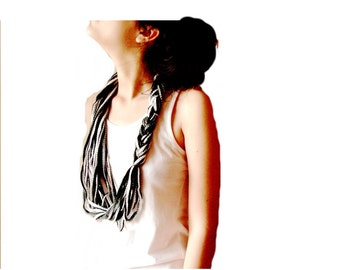 Black and white loop scarf, infinity circle scarf, cowl, Necklace scarf textile jewelry