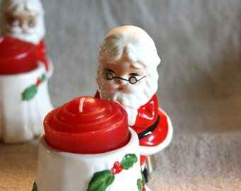 Vintage Pair of Josef Original Santa Claus Candle Holders