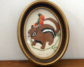 Vintage  70s  Embroidered Chipmunk  Picture