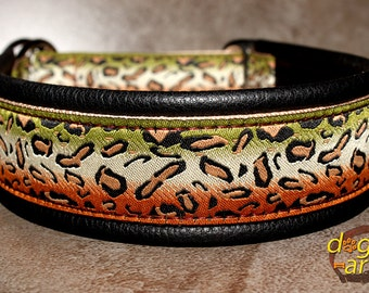 "Martingale Leather Collar ""Cheetah"" by dogs-art in black/sand/cheetah olive, dog collar, leather dog collar, martingale collar, collar, dog"