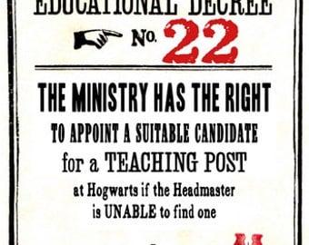 Educational Decree Wizarding Proclamation 22 (Teaching Post) printable .pdf file