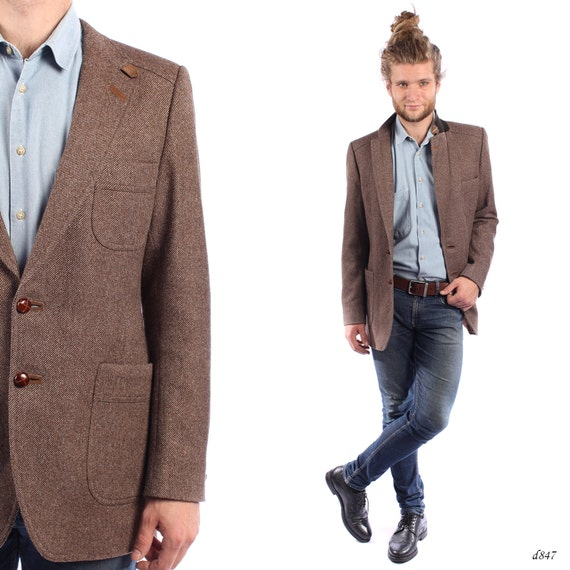 Equestrian Jacket . Mens Tweed Blazer . Wool Sport Coat .