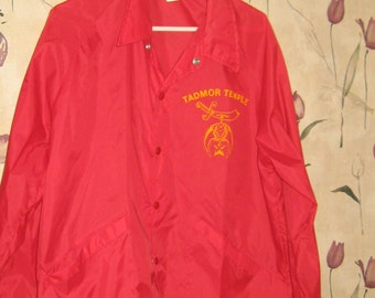 vintage 70s  Tadmor shrine  temple   red nylon jacket by SWINGSTER  size large