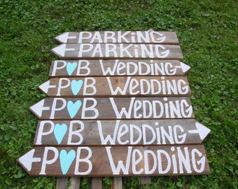rustic wedding signs 7 XTRA LETTERS wooden w/ Stakes weddings decorations reception beach signage directional country personalized signage