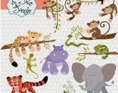 Jungle Animals - digital clipart- printable artwork - commercial use