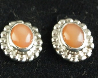 Sterling Silver and Peach Moonstone Post Earrings