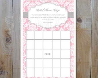 Bridal Shower Bingo Game Card / Pink and Grey Damask / DIY Printable Bingo Cards / PDF 12236