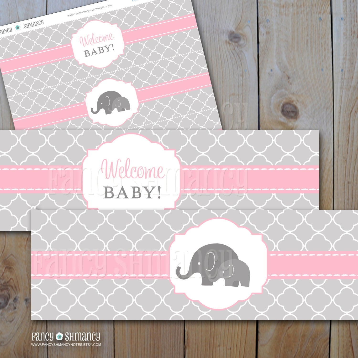 Elephant baby shower water bottle labels pink and grey for Baby shower decoration templates