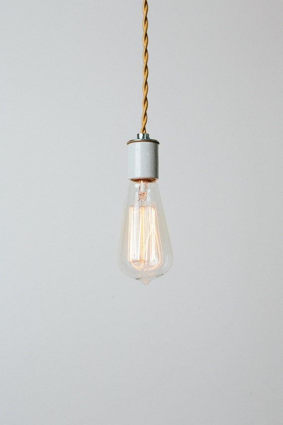 Bare Bulb Pendant Light with Handmade Copper Ceiling Canopy